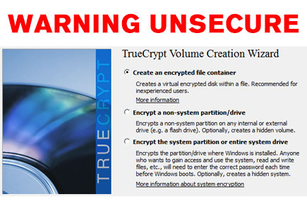 TrueCrypt Mysteriously Shut Down with Ominous Warning